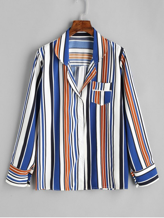 trendy Button Up Contrast Striped Shirt - STRIPE L