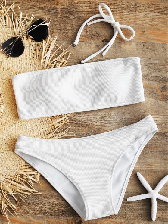 outfits Halter Ribbed Texture Bikini Set - WHITE S