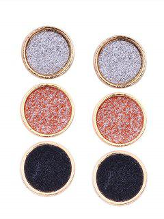 Shining Alloy Round Stud Earrings Set