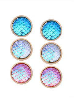 Colorful Scale Embellished Alloy Stud Earrings Set