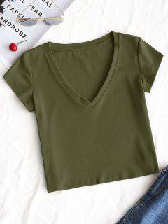 Plain V Neck Cropped Top - Army Green S