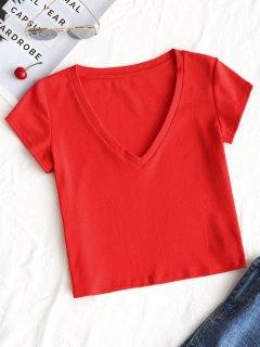 Top Corto Con Cuello En V Liso - Rojo S