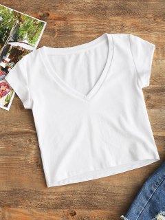 Top Corto Con Cuello En V Liso - Blanco S