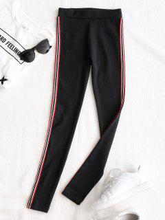 Side Stripe Workout Pants - Black