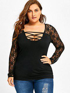 Plus Size Lace Yoke U Neck Top - Black 4xl