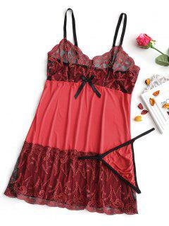 Embroidered Mesh Panel Babydoll - Red