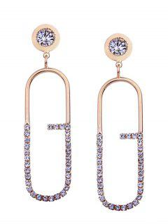 Artificial Diamond Inlay Geometric Stud Drop Earrings - Golden