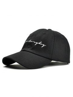 Unique Letter Sentences Embroidery Baseball Hat - Black