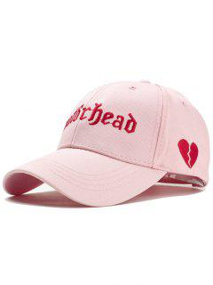 Unique Broken Heart Embroidery Baseball Hat - Pink