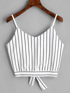 Bowknot Stripes Cut Out Cropped Tank Top - Stripe L