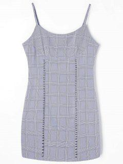 Checked Mini Slip Dress - Gray S