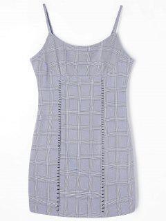 Checked Mini Slip Dress - Gray M