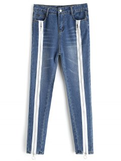 Bleach Wash Skinny Zipper Jeans - Denim Blue L