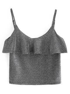 Cami Glänzendes Rüschen Tank Top - Silber