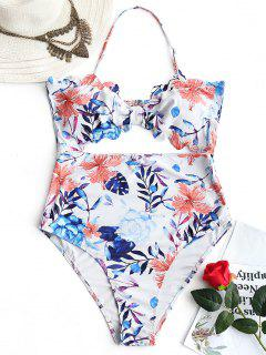 Plus Size High Leg Cut Out Leaf Print Swimwear - Floral 4xl