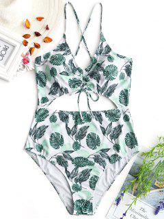 Cinched Leaf Print Cut Out Plus Size Swimsuit - White 2xl
