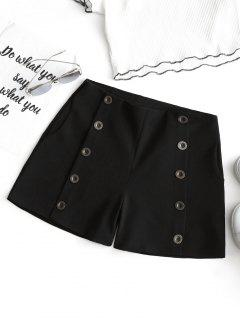 High Waist Button Embellished Shorts - Black L