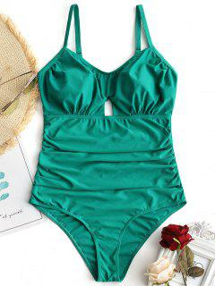 One Piece Ruched Cut Out Plus Size Swimsuit - Green 2xl