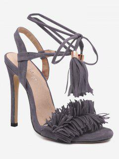 Stiletto Heel Fringe Sandals - Gray 40