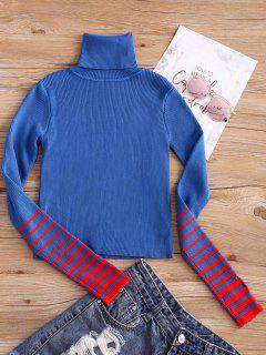 Turtleneck Striped Sleeve Knitwear - Blue