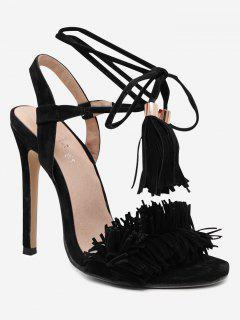 Stiletto Heel Fringe Sandals - Black 38