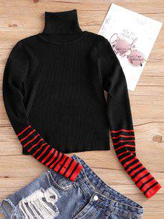 Turtleneck Striped Sleeve Knitwear - Black