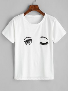 Eyes Embroidered Sequin Top - White M