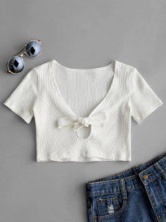 Plunging Neck Bowknot Ribbed Crop Tee - White