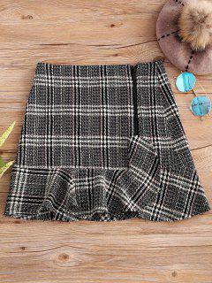 Zip Up Plaid Ruffle Mini Skirt - Checked M