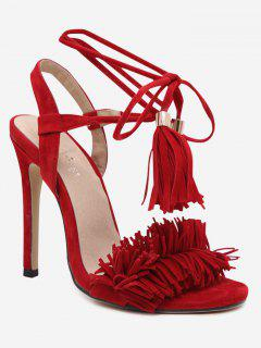 Stiletto Heel Fringe Sandals - Red 36