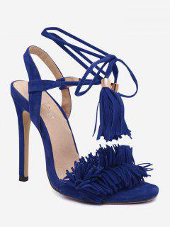 Stiletto Heel Fringe Sandals - Blue 36