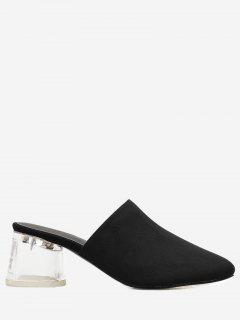 Lucid Block Heel Mules Shoes - Black 36