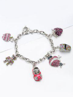 Rhinestone Whistling Bear Grape Charm Bracelet - Pink