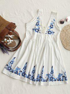 Floral Print Lace Up Sleeveless Flare Dress - White S
