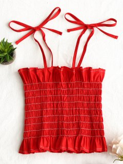 Contrast Cami Smocked Tank Top - Red M
