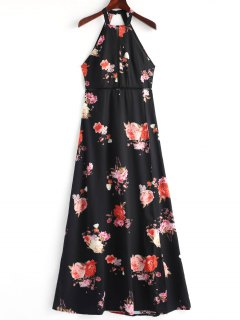 Floral Open Back Slit Maxi Dress - Black L