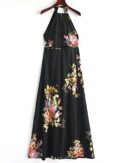 Slit Eyelet Open Back Maxi Dress - Black L