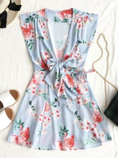 Tied Floral Wrap Mini Dress - Light Blue L