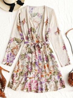 Long Sleeve Floral Wrap Mini Dress - Apricot M