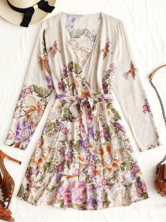 Long Sleeve Floral Wrap Mini Dress - Apricot L