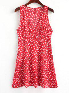 Mini Vestido Con Cremallera Lateral Cross Over Birds - Rojo L