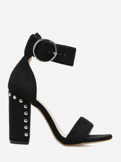 Studded Heeled Two-piece Sandals - Black 36