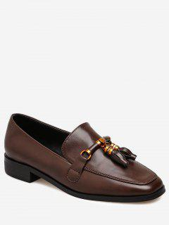 Square Toe Loafers With Tassels - Brown 39