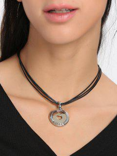 Faux Leather Rope Heart Round Collarbone Necklace - Black