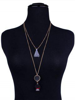 Bohemian Alloy Tassel Layered Necklace - Black And Grey