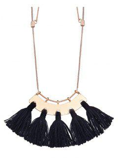 Alloy Statement Tassel Pendant Necklace - Black