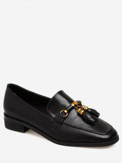 Square Toe Loafers With Tassels - Black 38