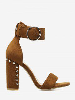 Studded Heeled Two-piece Sandals - Brown 37