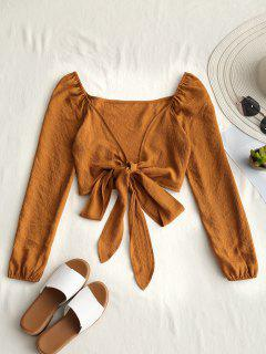 Plunging Neck Tied Bowknot Crop Blouse - Earthy S