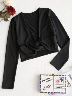 Cropped Twist Low Cut Top - Black S